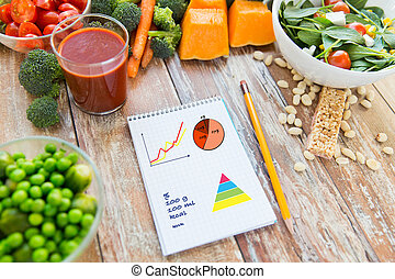 close up of ripe vegetables and notebook on table - healthy...