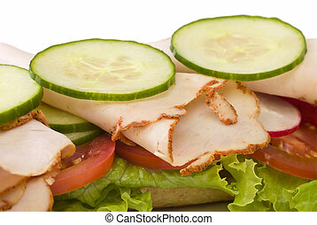 Close up of roasted turkey sandwich