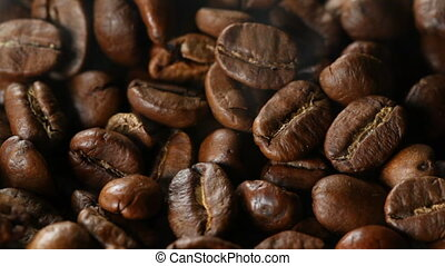 Close up of roasting coffee beans