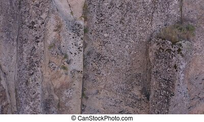 Close up of rocky wall of Ihlara valley of Aksaray province...