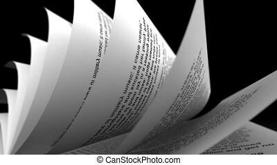 Close-up of rolled paper sheets on black background. Loopable.