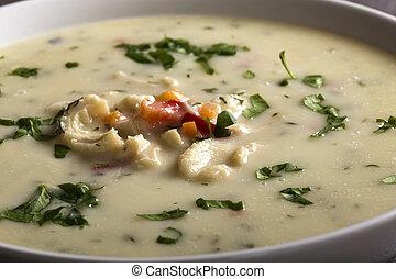 Close up of Romanian traditional soup - Ciorba de Burta