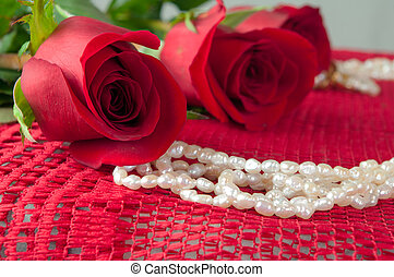 Close up of Rose and Pearls - Close up of a Rose and two...