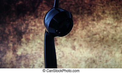 Close up of rotaru phone head against grunge background