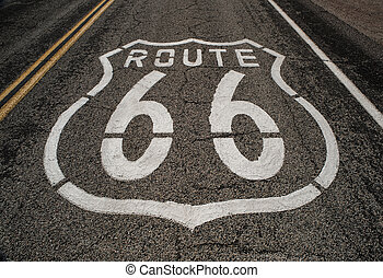 close up of route 66 roadway
