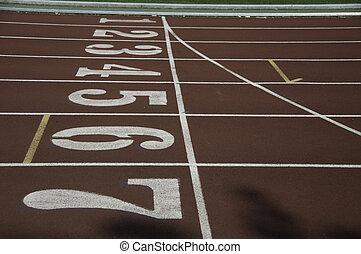 Close up of running lane