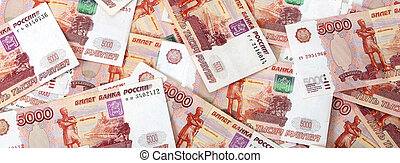 Close-up of russian banknotes. Five Thousand Ruble Notes