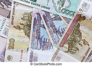 close up of Russian Federation banknotes