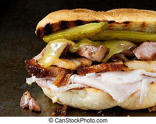 rustic cuban cubano sandwich - close up of rustic cuban...