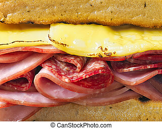 rustic deli cold cuts sandwich
