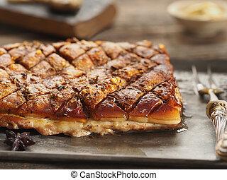 rustic golden roasted pork belly