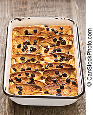 rustic traditional british bread and butter pudding - close ...