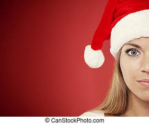 Close-up of santa woman