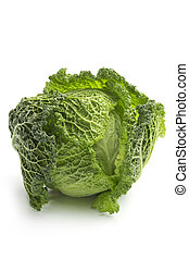 close up of savoy cabbage on white background