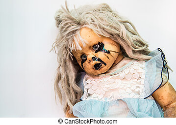 Close up of scary baby doll of halloween