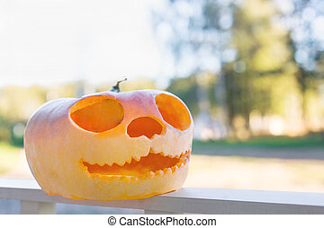 Close-up of scary carved pupkin outdoors