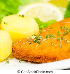 Close up of schnitzel