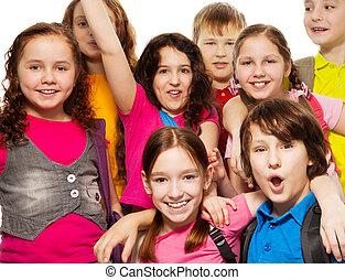 Close-up of school children group
