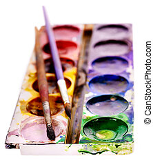 Close up of school supplies. - Close up of group art...