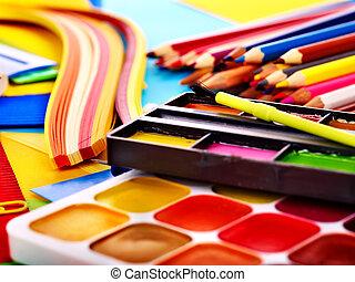 Close up of school supplies.