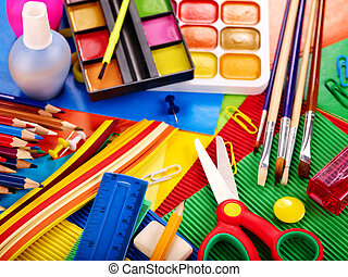 Close up of school supplies. - Close up of group art school...