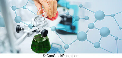 close up of scientist filling test tubes in lab - science, ...