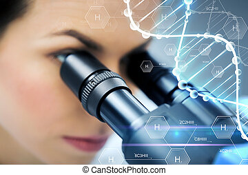 close up of scientist looking to microscope in lab -...
