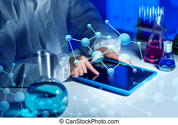 close up of scientist with tablet pc in laboratory -...