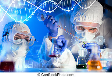 close up of scientists making test in lab - science, ...