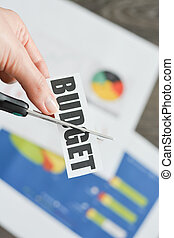 """Close-up of Scissors cutting the word """"budget"""" above financial reports and charts, concept for economic crisis"""