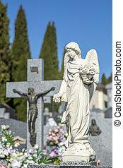 close-up of sculpture of an angel
