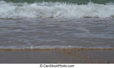 Close up of sea surf splashing