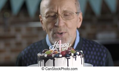 Close-up of senior man blowing candle on cake