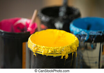 Close up of serigraphy printing ink