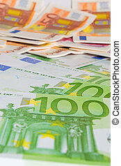 euro bills - close up of several euro bills