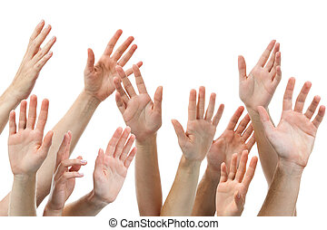 human hands raised - Close-up of several human hands raised...