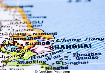 close up of shanghai on map, china