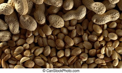 Close up of shelled peanuts rotating.
