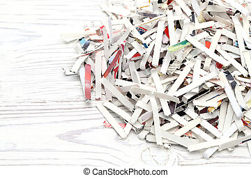 Close up of shredded paper on white background