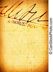 Signature - Close up of Signature with document