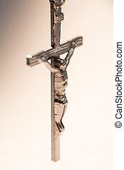 Close up of silver crucifix