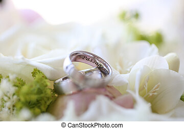 close up of silver wedding rings
