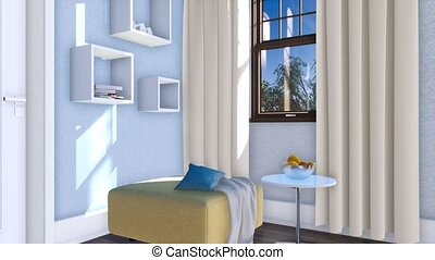 Close-up of simple modern interior 3D animation - Close-up...