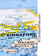 close up of Singapore on map