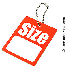 close-up of Size Tag with copy space isolated on white