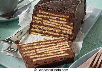 Close-up of sliced Kalter Hund biscuit cake