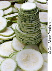 courgette - close up of slices of courgette