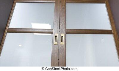 Close up of slide wooden door.