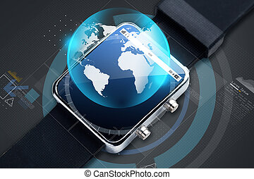close up of smart watch with earth globe hologram