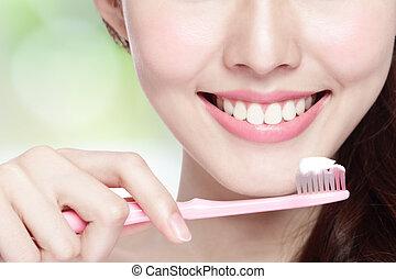 Smile woman brush teeth - Close up of Smile woman brush ...